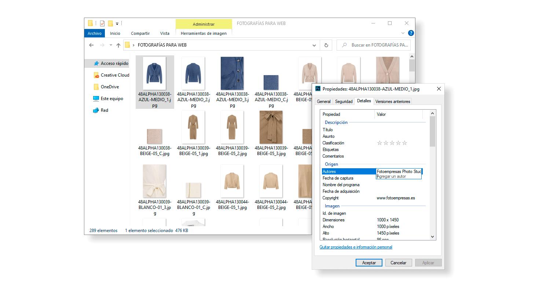 guardar metadatos imágenes
